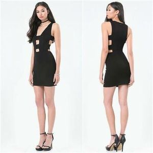 NWT BEBE Double Strap Cut Out Bodycon Dress Club